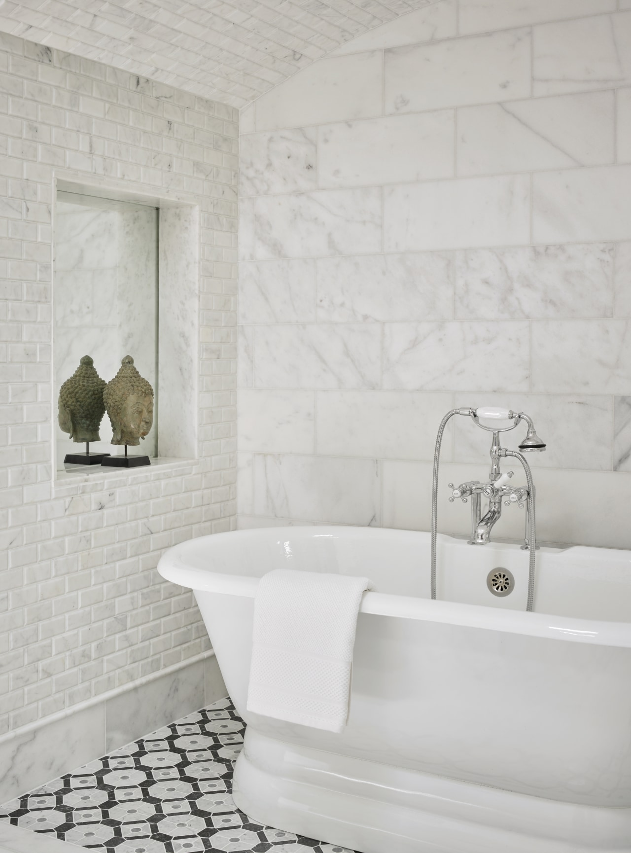 Photography by: Emily Followill bathroom, ceramic, flooring, home, plumbing fixture, tap, tile, freestanding bath, master site, tiles, Mark Williams Design