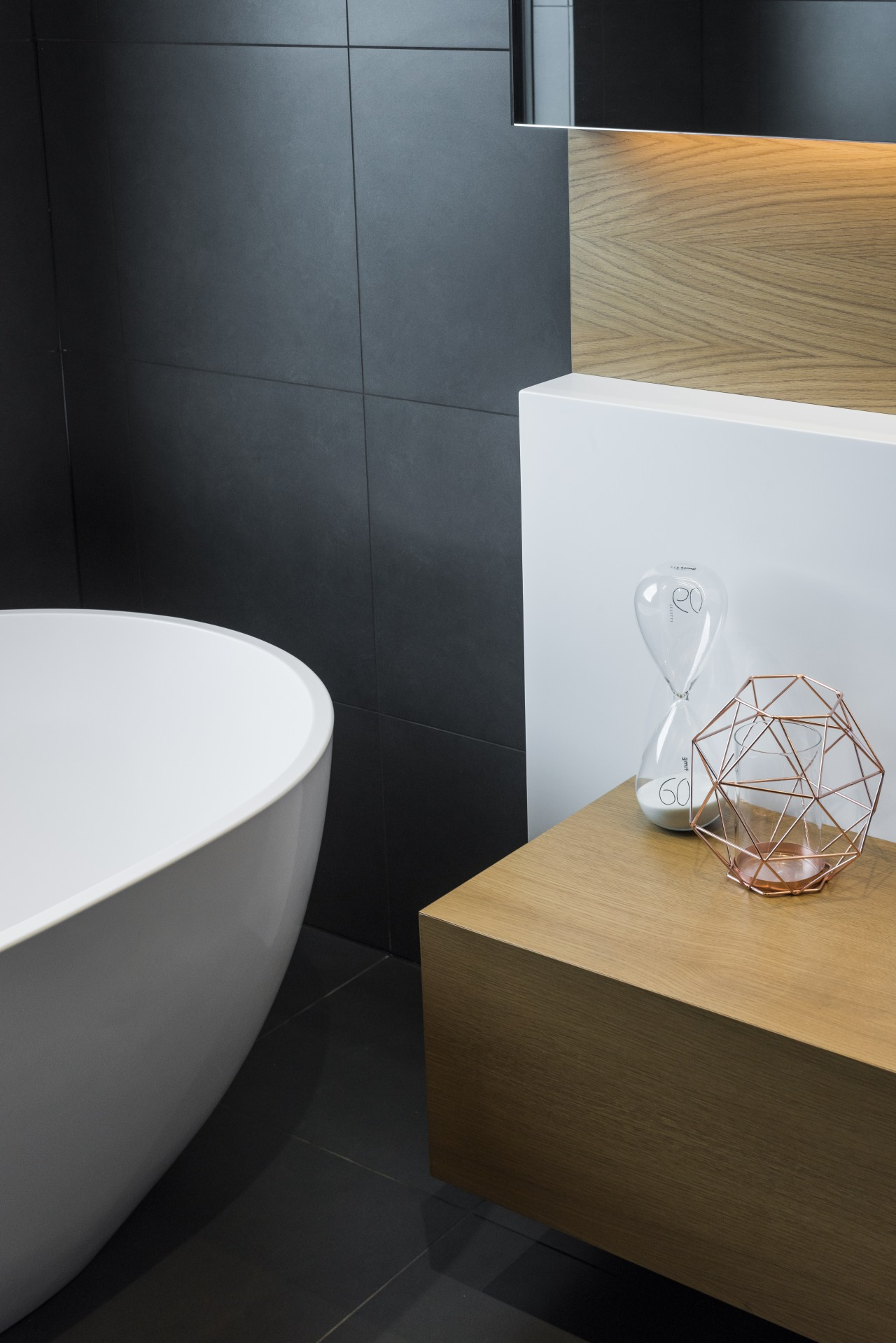 A curving engineered stone tub is juxtaposed with bathroom, bathroom sink, ceramic, floor, flooring, interior design, sink, tap, tile, Davinia Sutton