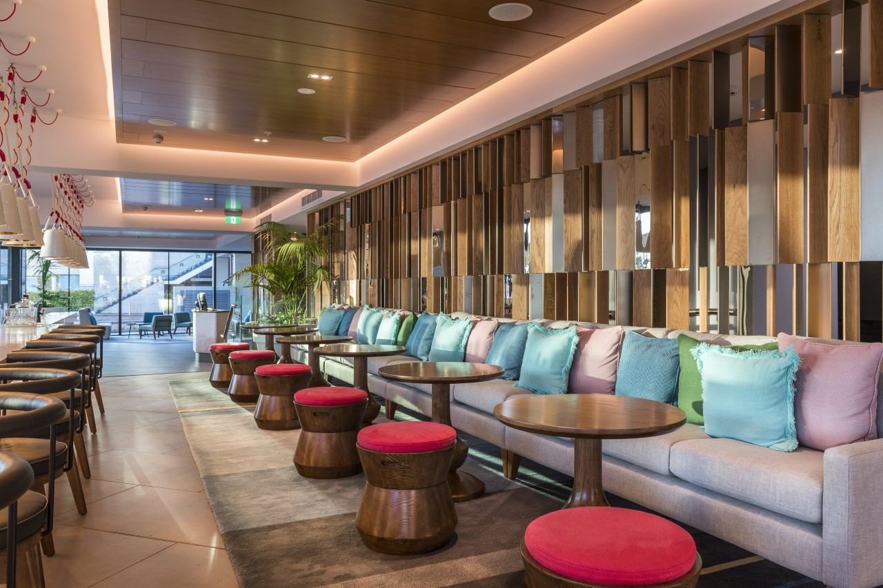 Designer Greg Farrell drew on his background of interior design, lobby, M Social, Hotel, furniture