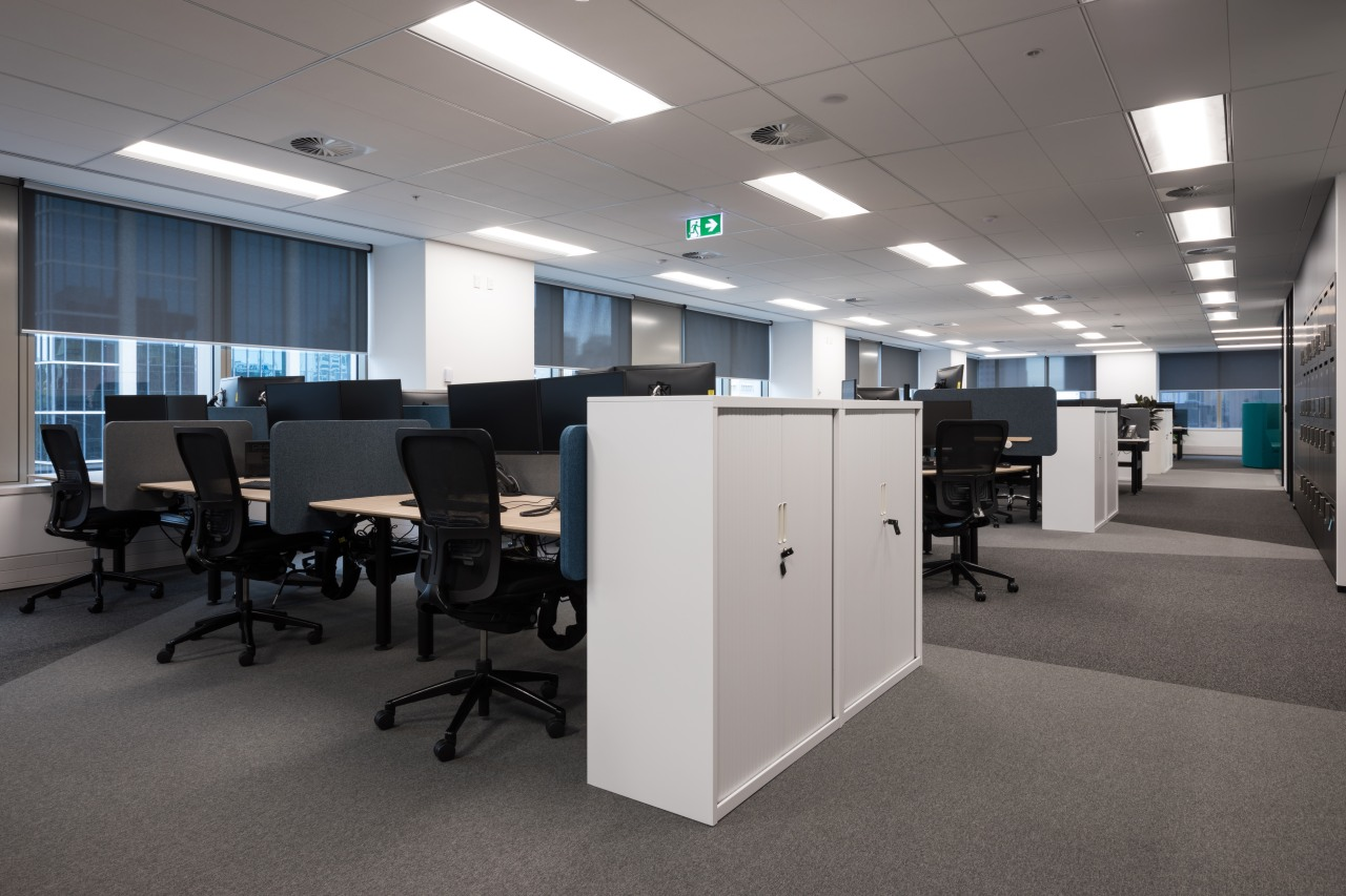 Aspect Furniture supplied the company's own Agility meeting office, gray