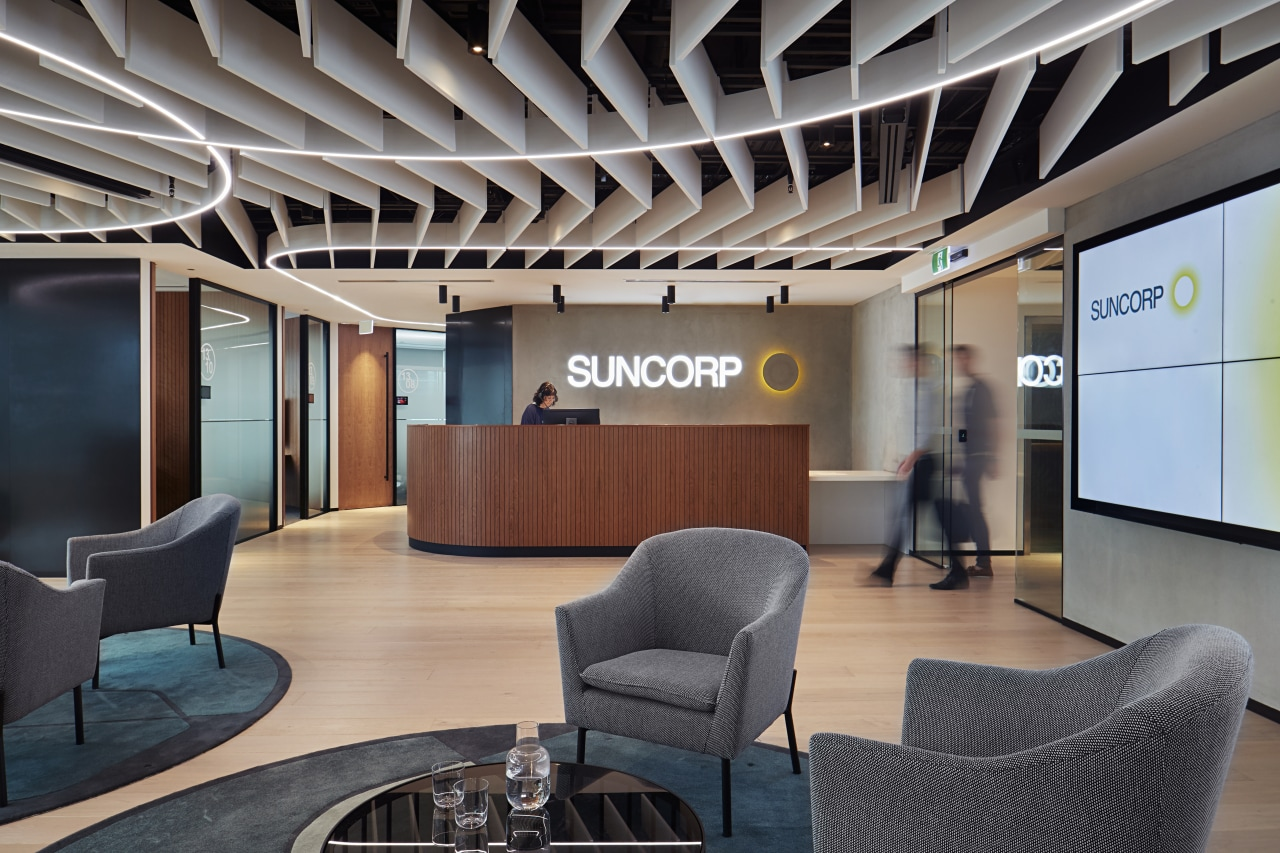 Interior designers Unispace worked closely with Suncorp to conference hall, interior design, lobby, office, gray, black