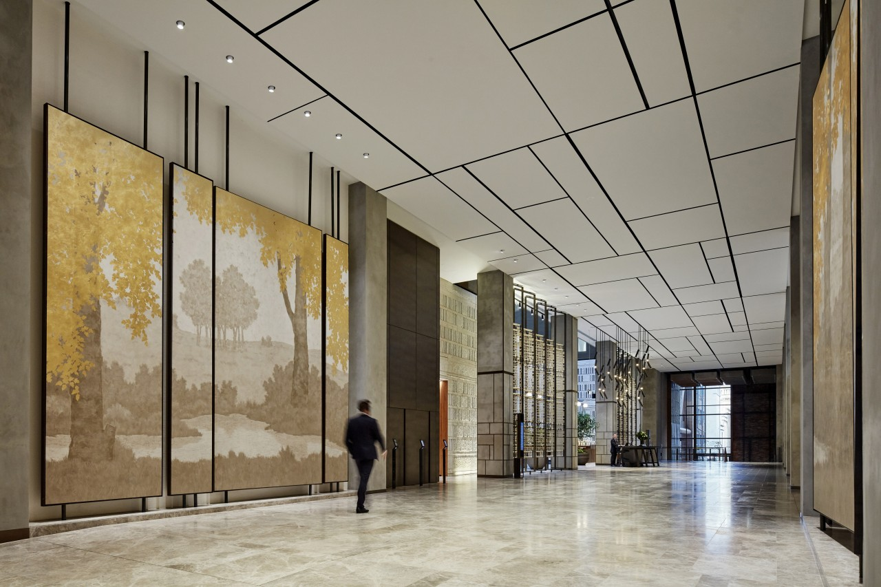 Artworks by New York based artist Yolande Milan architecture, building, ceiling, daylighting, glass, lobby, tourist attraction, gray