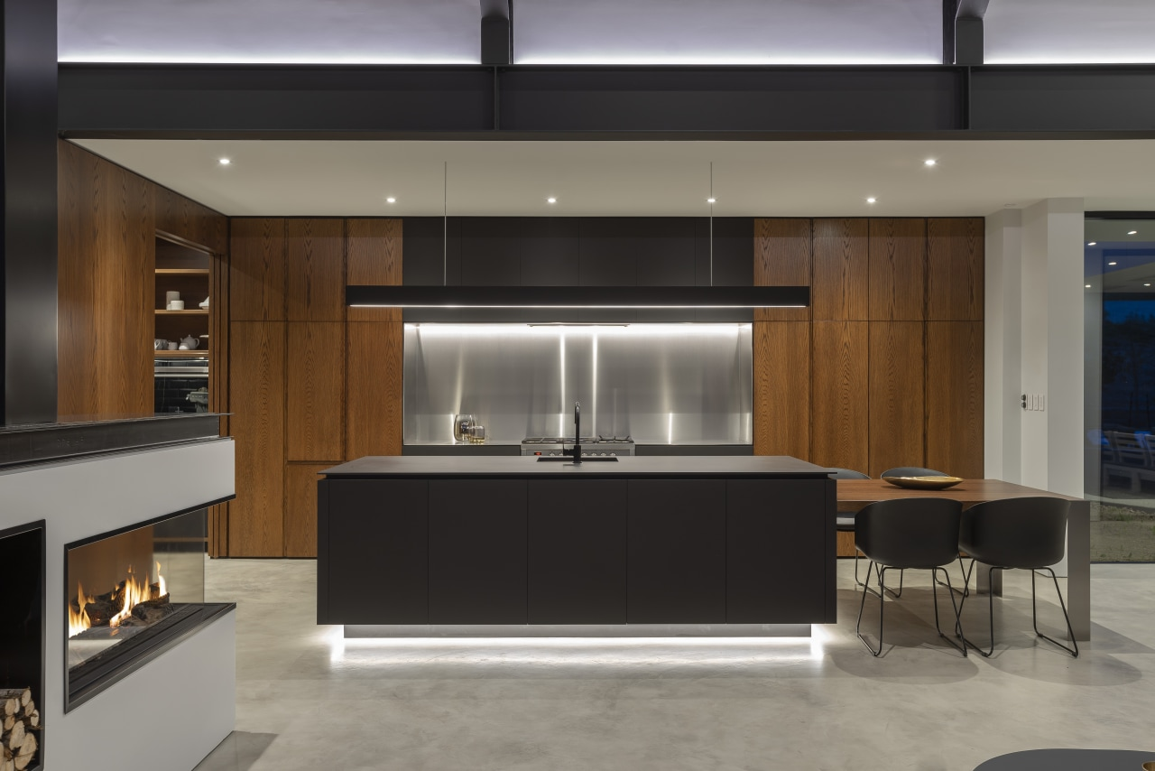 Intelligent design and crafted wood working shine in architecture, cabinetry, design, floor, flooring, furniture, house, interior design, kitchen, living room, Cube Dentro, Kitchen island, cabinetry