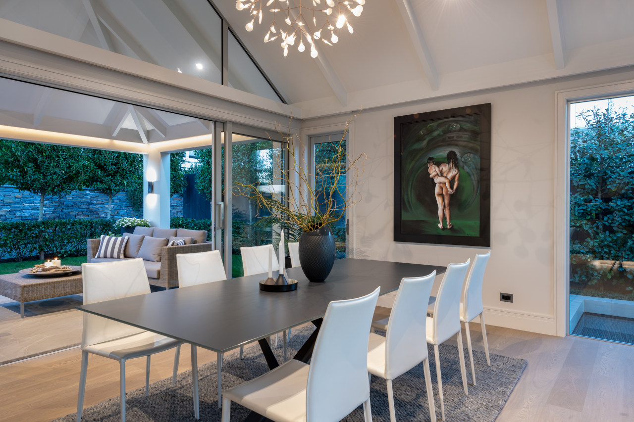 All the walls in this open-plan entertainer's space