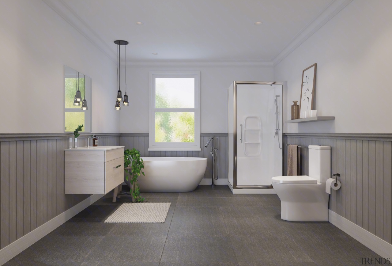 An example of an all-in-one shower enclosure. architecture, bathroom, daylighting, estate, floor, flooring, home, interior design, plumbing fixture, property, real estate, room, tile, gray