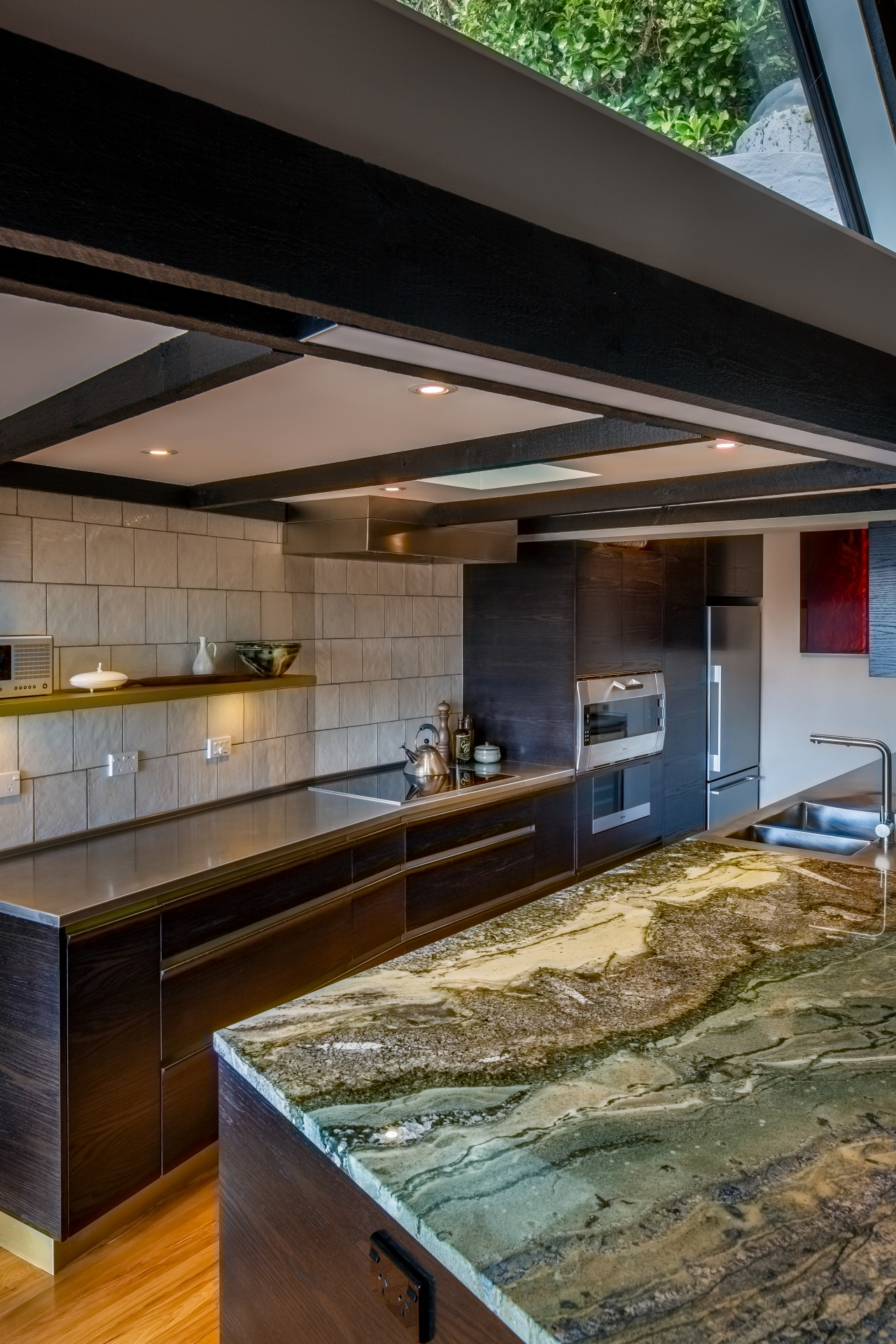 A slab of exquisite hand picked granite forms