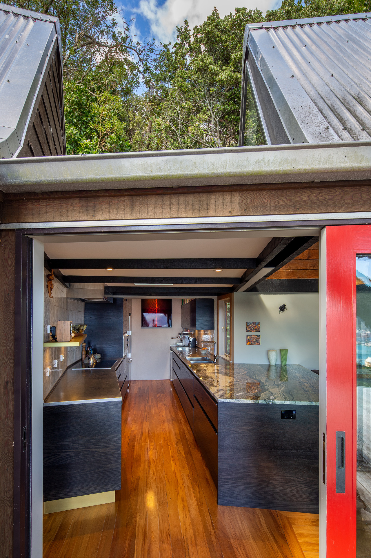 The kitchen space available was long and narrow,