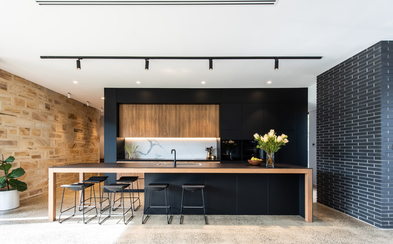 The kitchen makes a feature statement overlooking, as