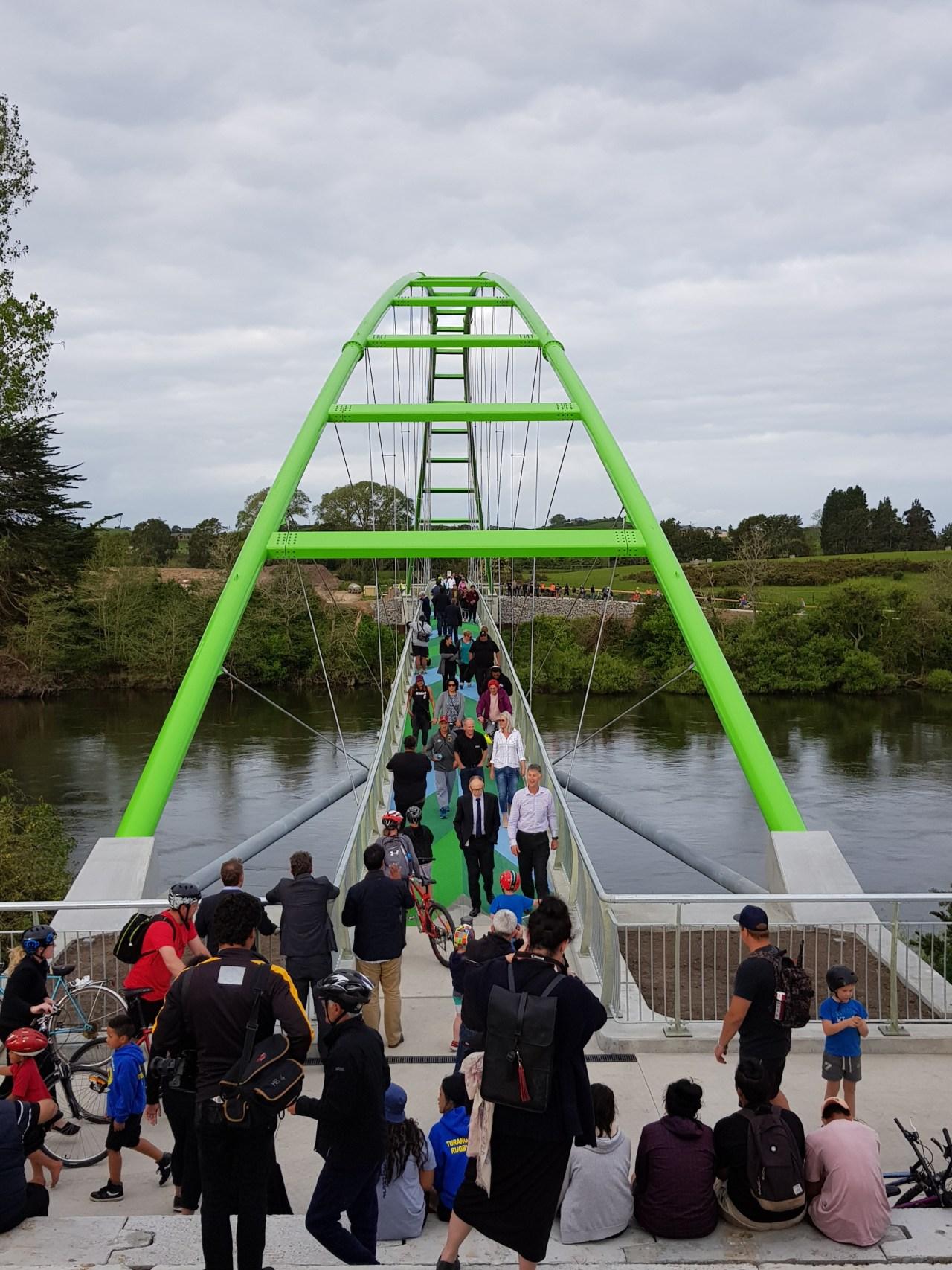 Perry Bridge opening. bridge, leisure, recreation, river, tourist attraction, tree, water, waterway, white