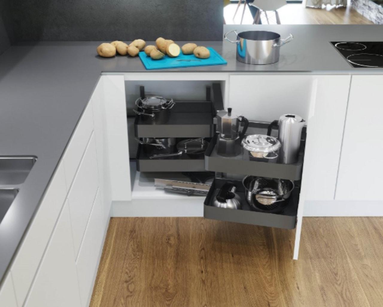 Planero Vs Cor Fold Pull Out Corner Unit countertop, drawer, floor, furniture, kitchen, table, gray, white