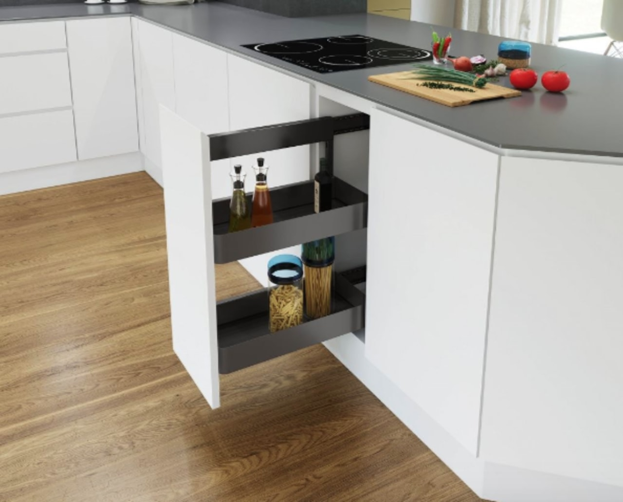 The Planero Vs Sub Side Pull Out installed angle, cabinetry, countertop, drawer, floor, flooring, furniture, hardwood, kitchen, laminate flooring, product, sideboard, table, wood, wood flooring, white