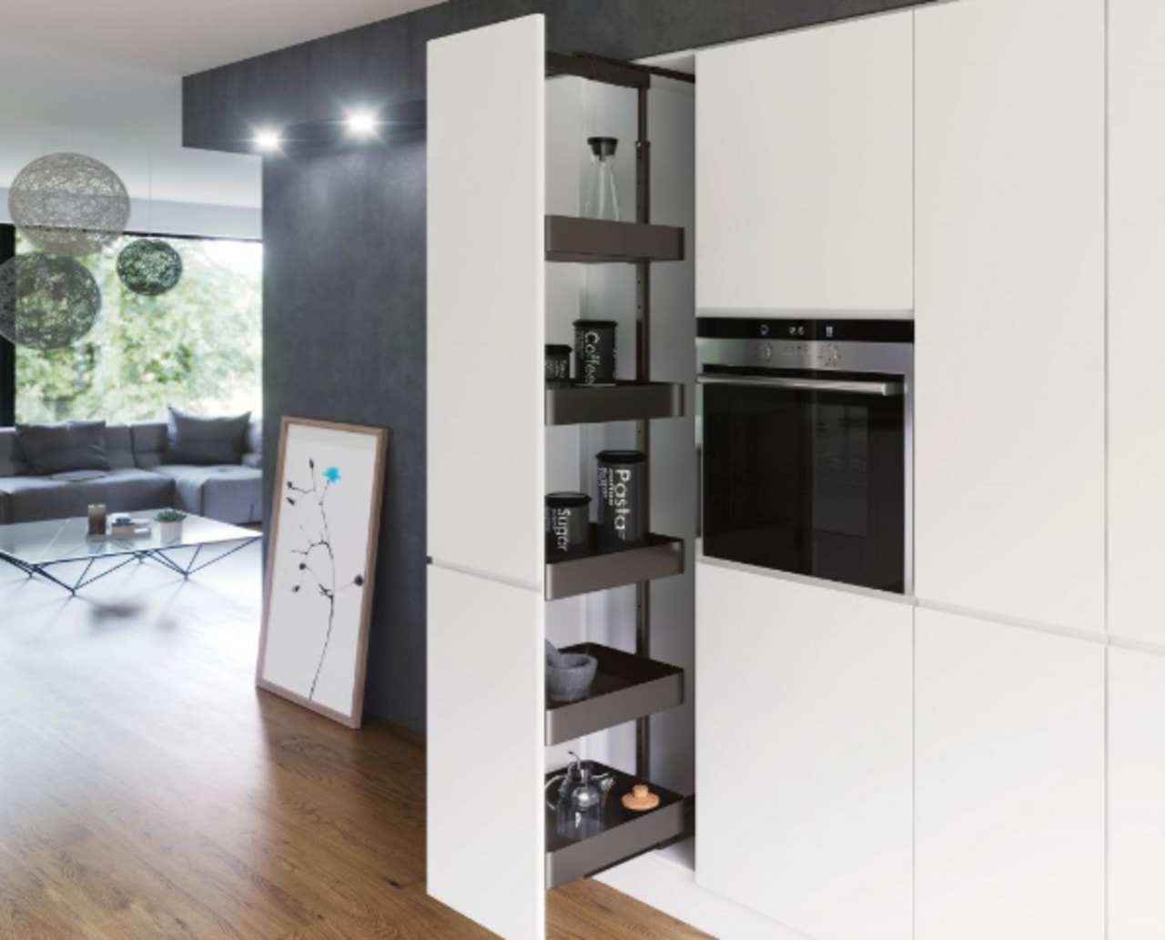 An example of the Planero Vs Tal Larder home appliance, interior design, kitchen, white
