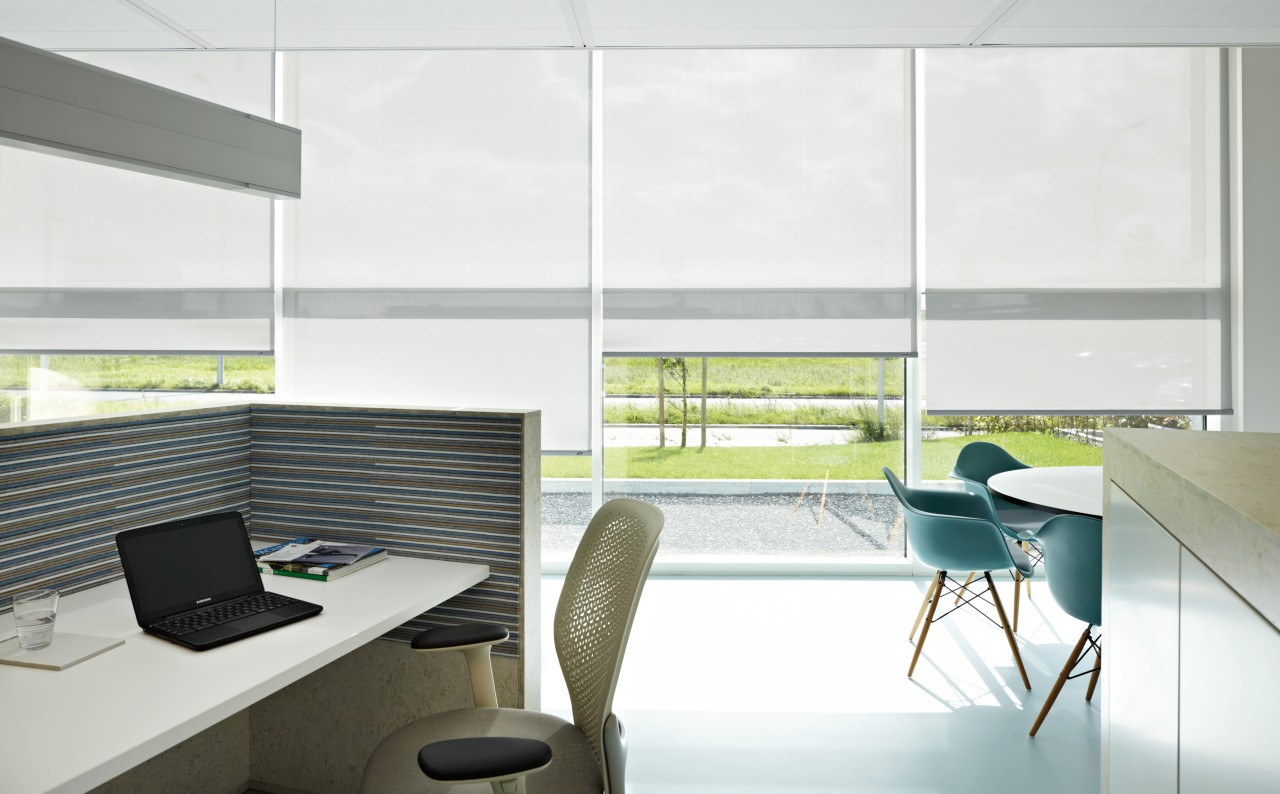 Seen in an office environmet here, Luxaflex blinds