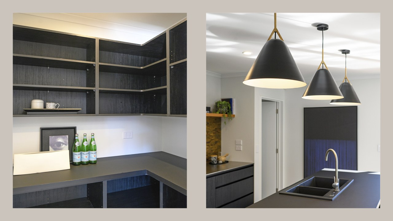 Black sinks, modern pendants and an easy way