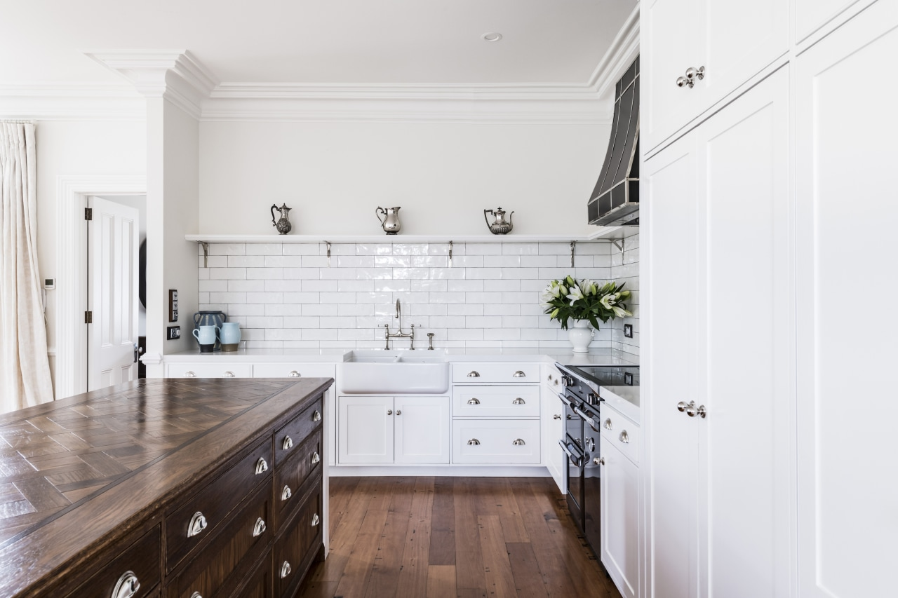 A traditional white subway tile splashback works well