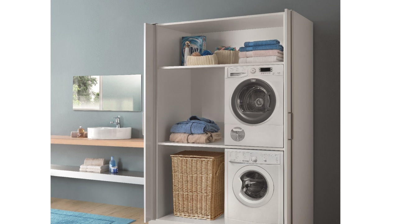 Salice Eclipse Pocket Doors are ideal for all clothes dryer, furniture, home appliance, laundry, laundry room, major appliance, product, shelf, shelving, washing machine, white, gray