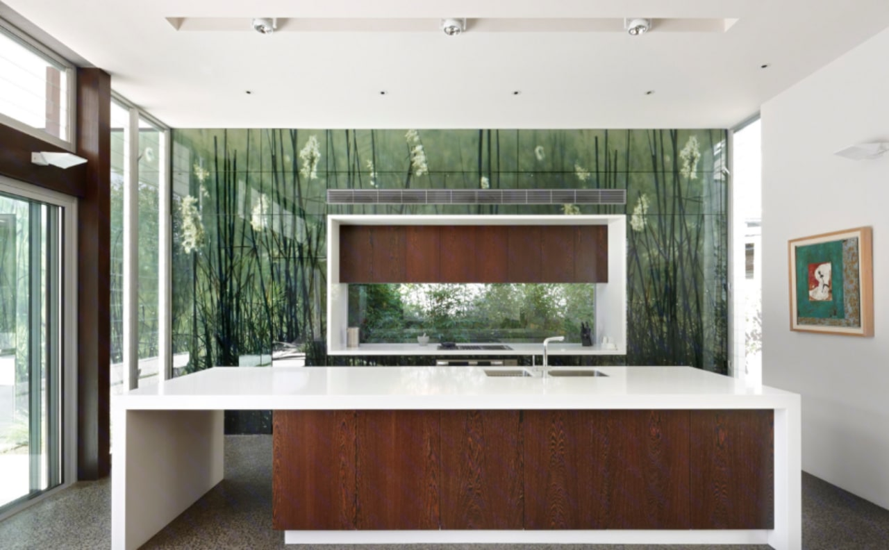 A picture splashback is a great way to ceiling, countertop, interior design, kitchen, real estate, window, white