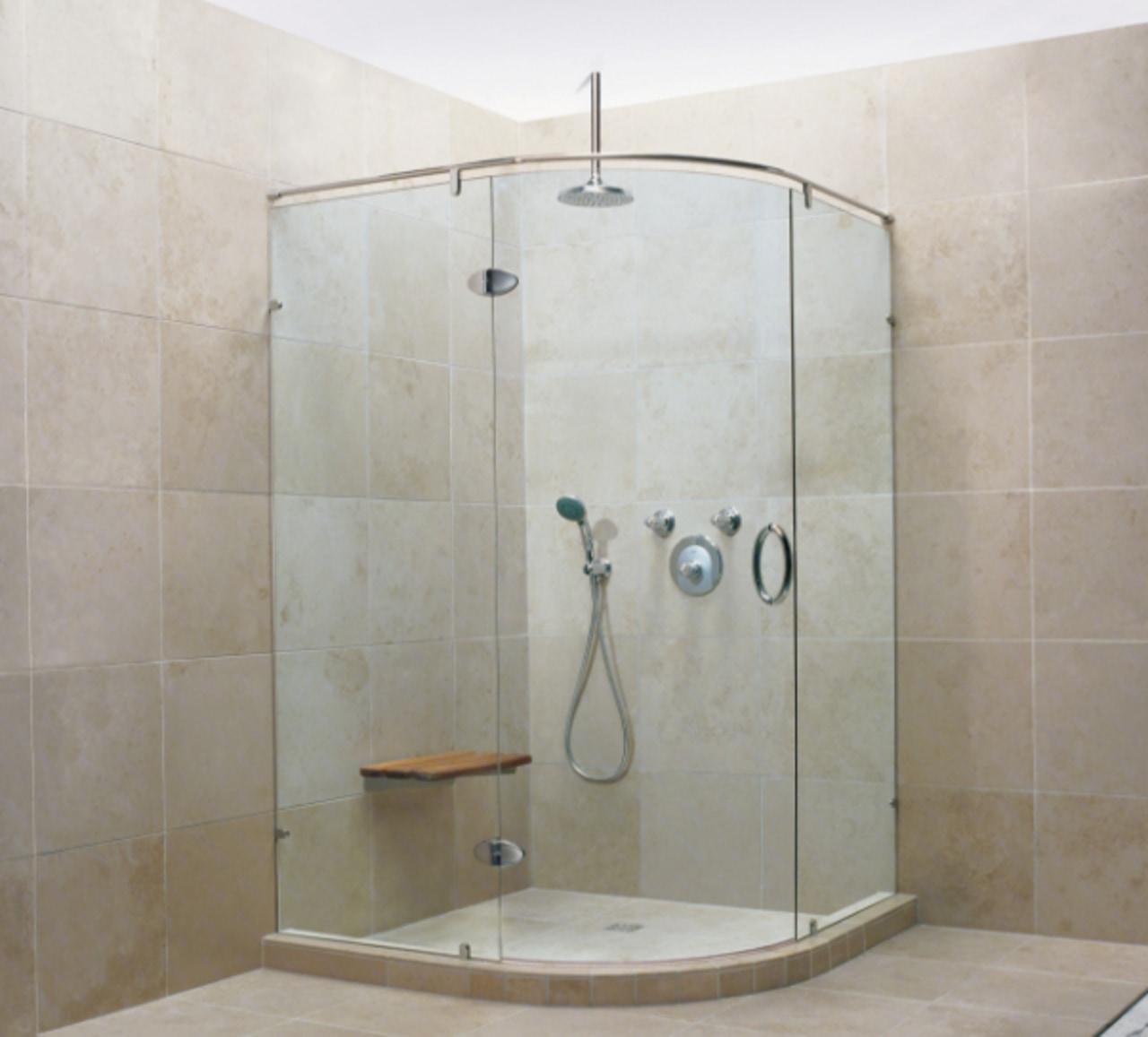 An example of a frameless glass shower. angle, bathroom, plumbing fixture, shower, tile, gray