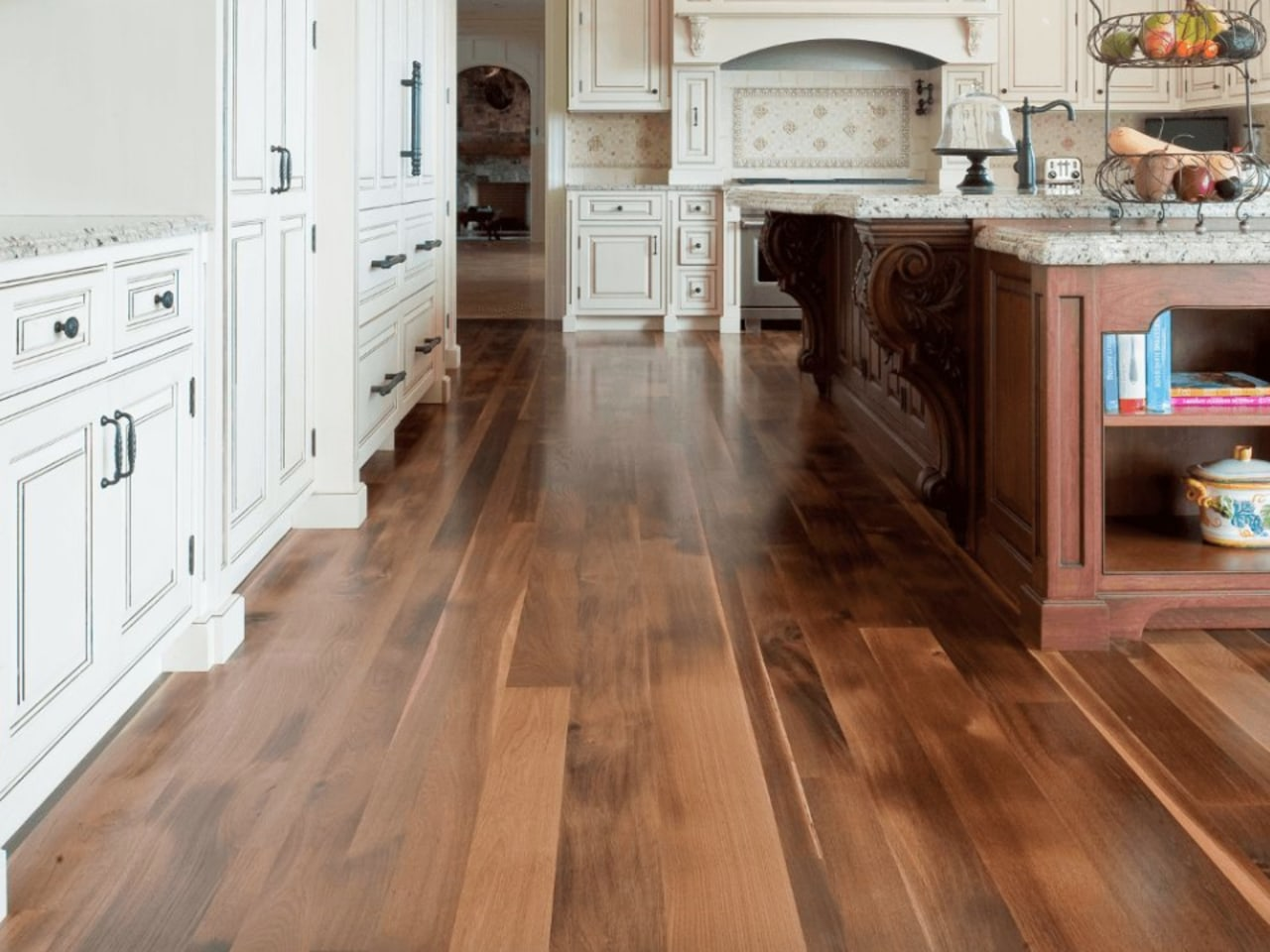 Laminate can replicate a number of different floor cabinetry, countertop, cuisine classique, floor, flooring, hardwood, kitchen, laminate flooring, tile, wood, wood flooring, wood stain, brown, white