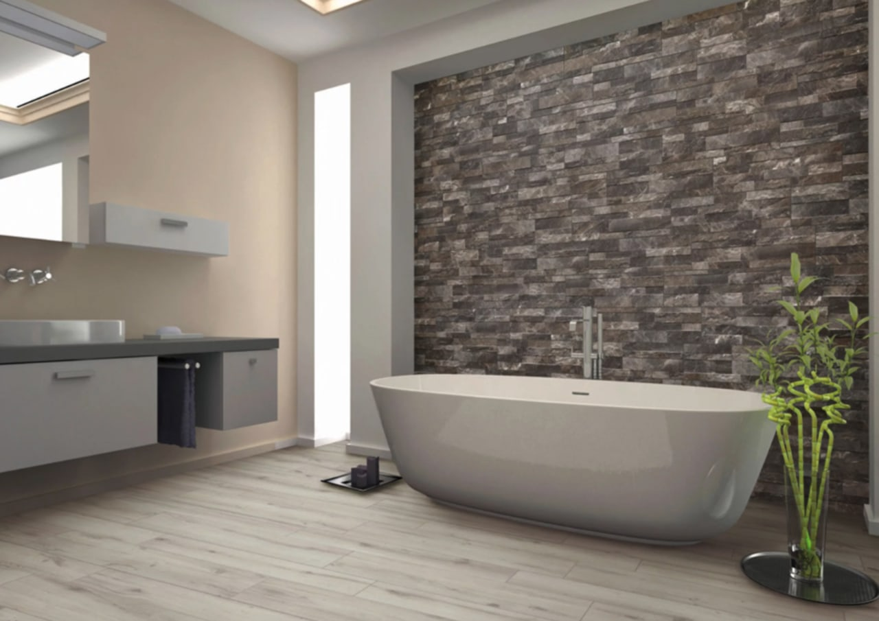Stacked stone tiles – from The Tile Depot bathroom, floor, flooring, interior design, room, tile, wall, gray