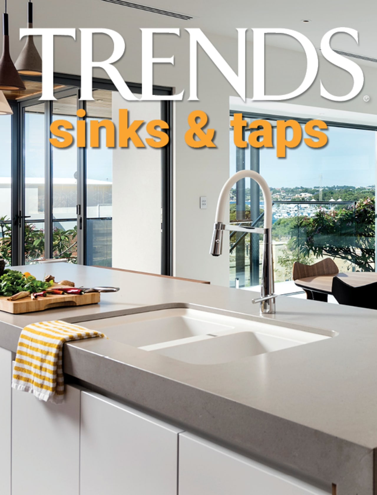 TRENDS MINI COVER 20 sinks taps - building building, cabinetry, ceiling, countertop, floor, flooring, furniture, glass, home, house, interior design, kitchen, material property, property, real estate, room, table, tile, window, gray, white