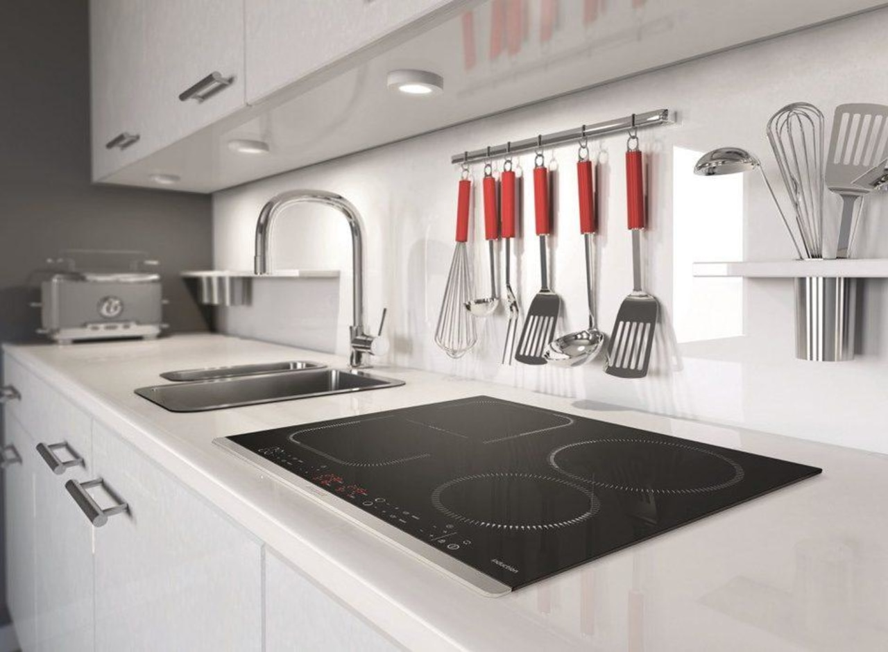 Low profile induction cooktops – such as Brandt architecture, building, cabinetry, ceiling, countertop, floor, flooring, furniture, house, interior design, kitchen, major appliance, material property, property, room, sink, tile, white, gray