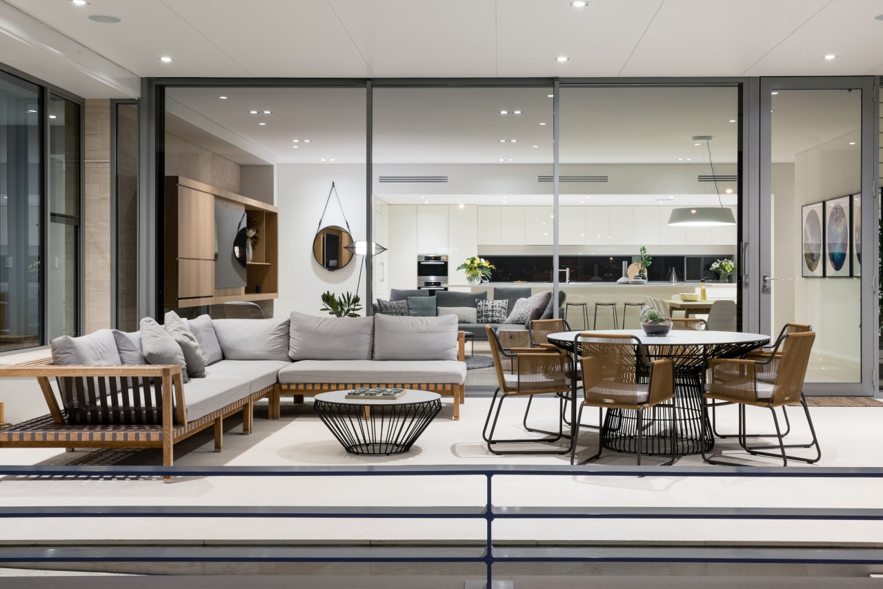 Relaxed outdoor living next to interior living, dining architecture, building, ceiling, coffee table, design, floor, furniture, glass, home, house, interior design, living room, lobby, property, real estate, room, table, gray