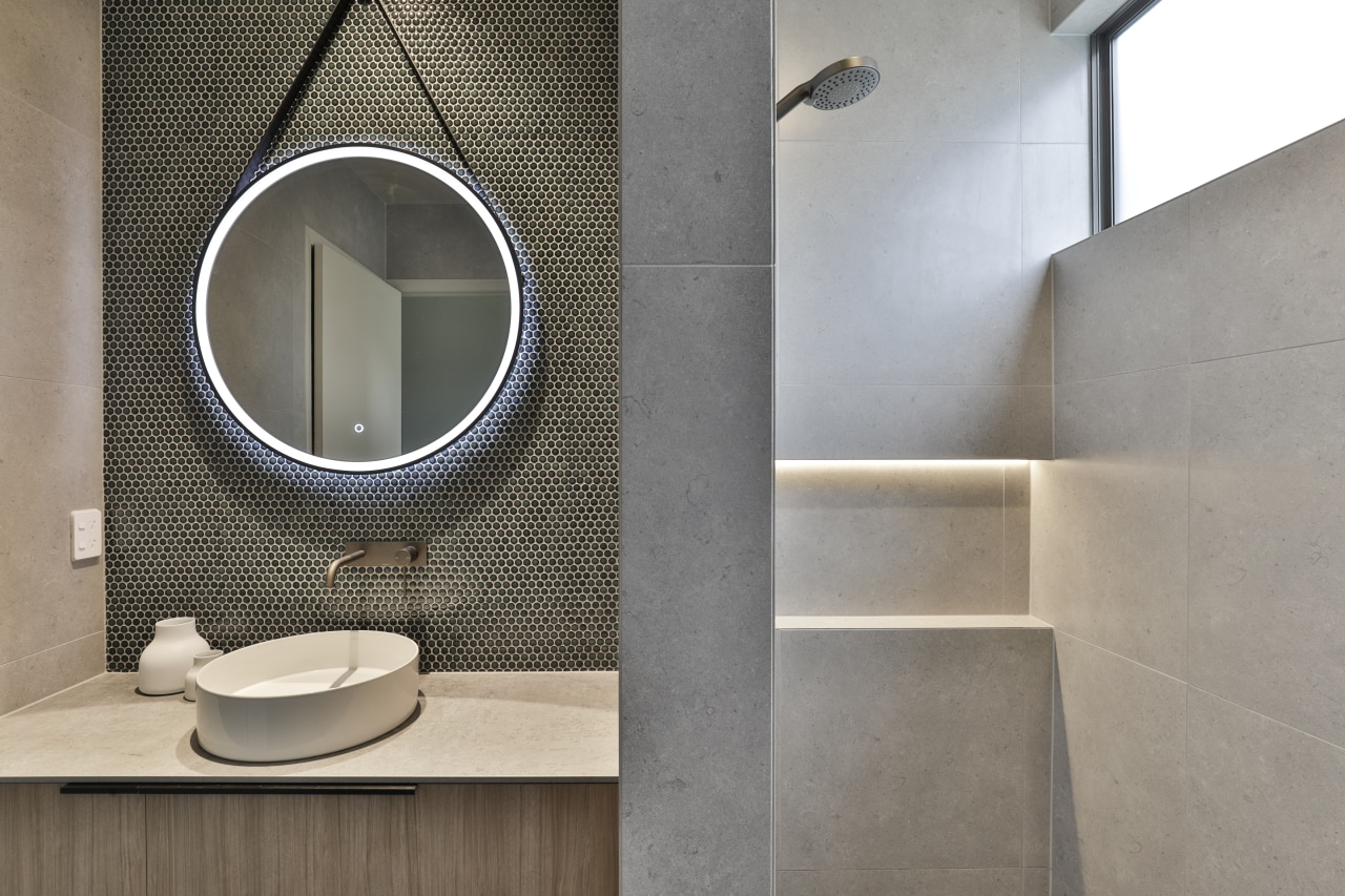 Mosaix Penny Round Jade tiles feature on the