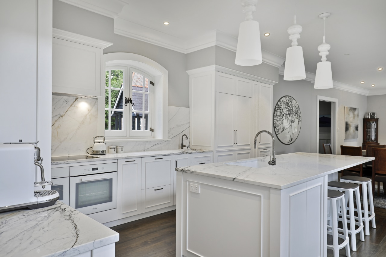 The Colonial-look kitchen by RH Cabinetmakers features all
