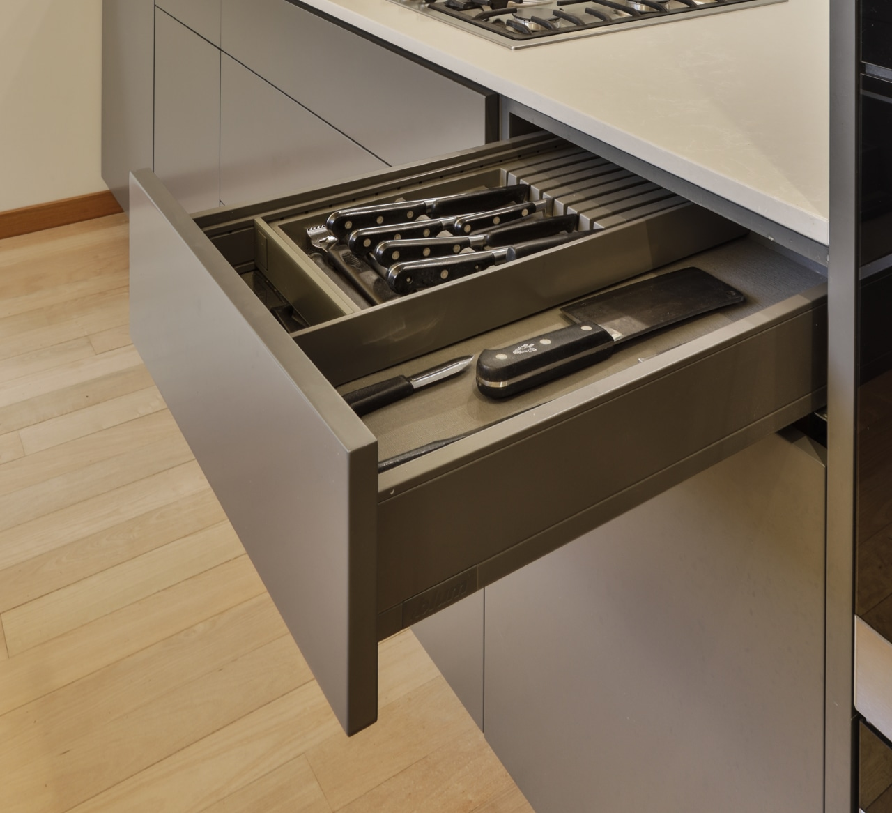 The kitchen's Blum Legrabox drawers are as smooth
