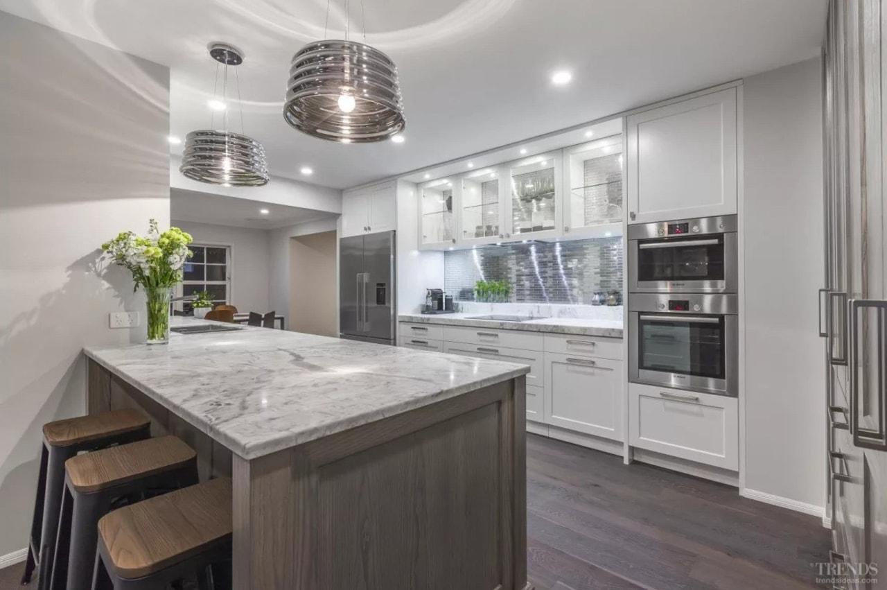 Glacier granite benchtop. Kitchen design by Kira Gray, cabinetry, countertop, cuisine classique, home appliance, interior design, kitchen, real estate, gray