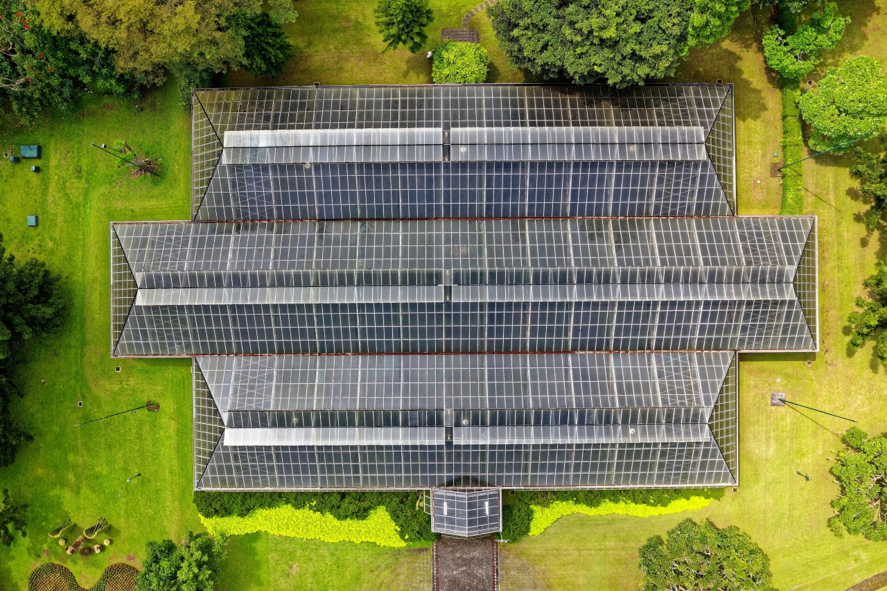 A bird's eye view of a roof replete