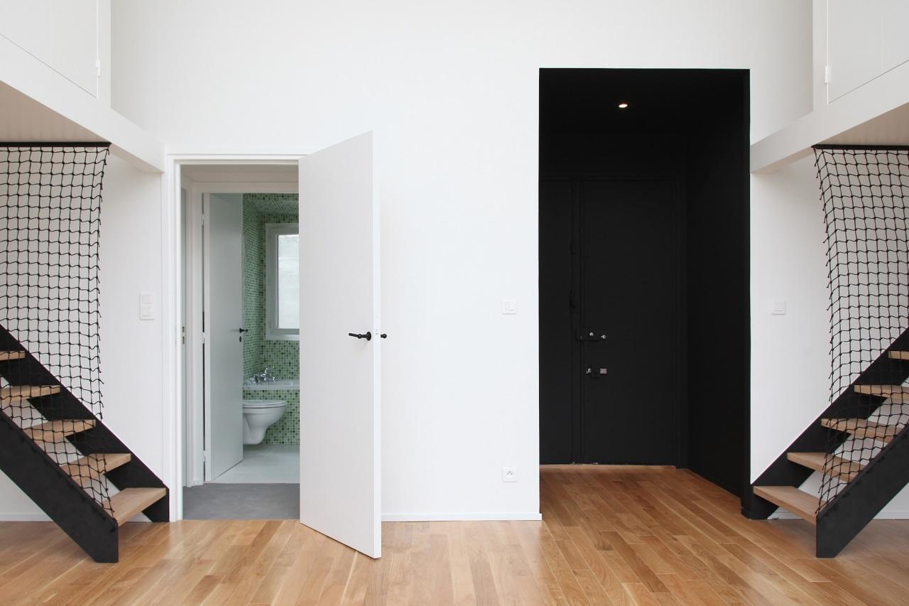 Architect: jbmn architectesPhotographer: Hermann Wendler architecture, door, floor, flooring, home, house, interior design, wood, wood flooring, white