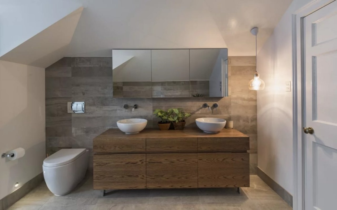 Floating vanities make bathrooms feel much larger bathroom, bathroom accessory, bathroom cabinet, countertop, floor, home, interior design, room, sink, gray
