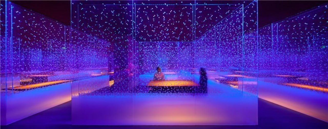 Glass panels imbued with LEDs fill the space entertainment, light, lighting, purple, stage, theatrical scenery, purple, blue