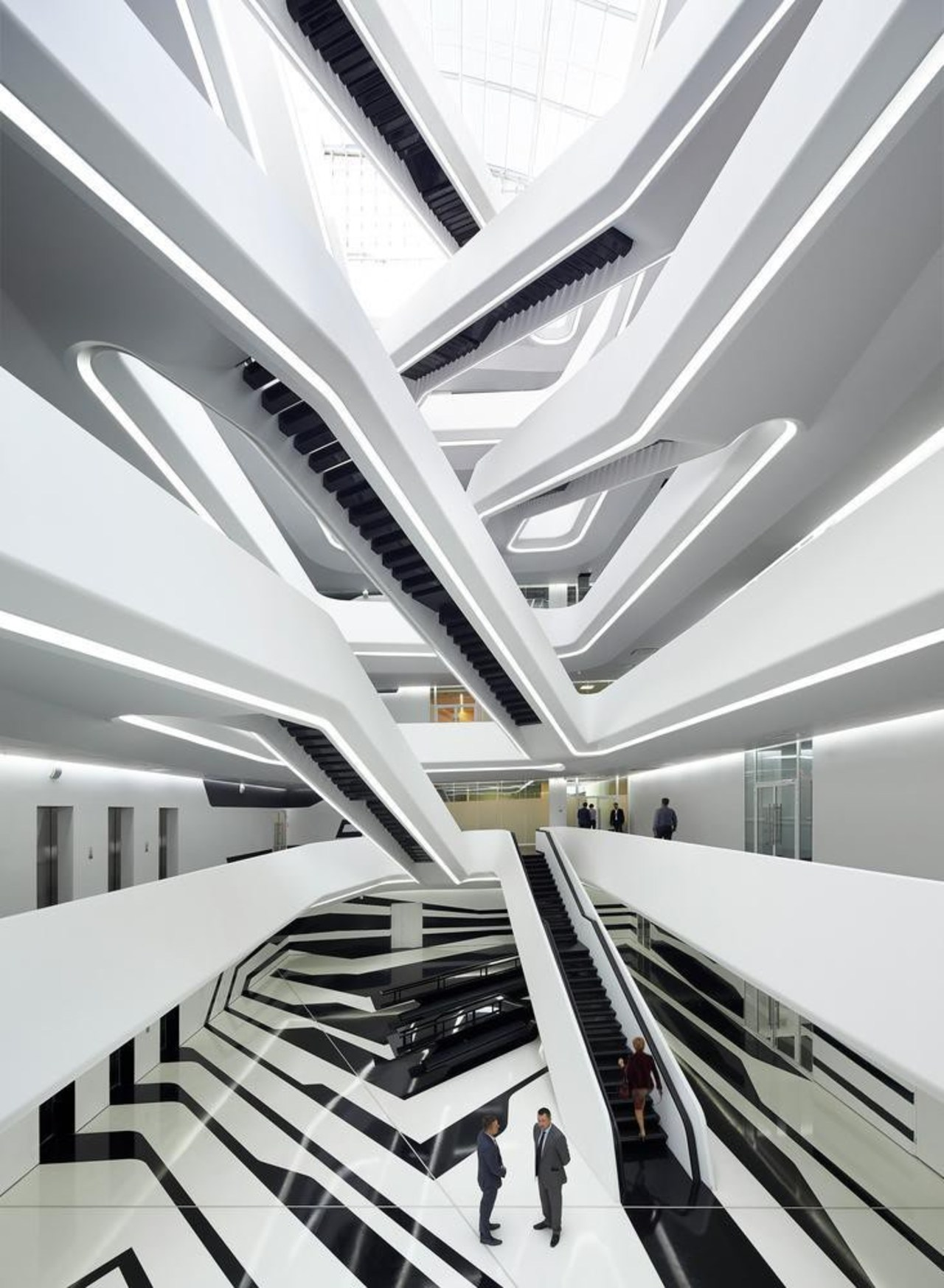 Farewell to Dame Zaha Hadid architecture, building, ceiling, daylighting, interior design, line, product design, structure, white, gray