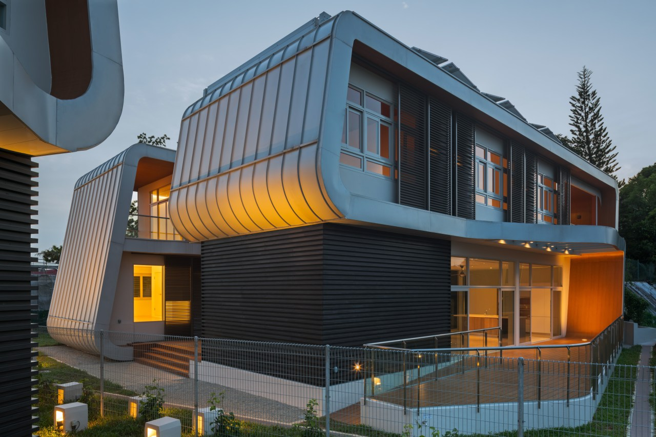 Exterior evening architecture, building, corporate headquarters, facade, home, house, mixed use, siding, black, gray