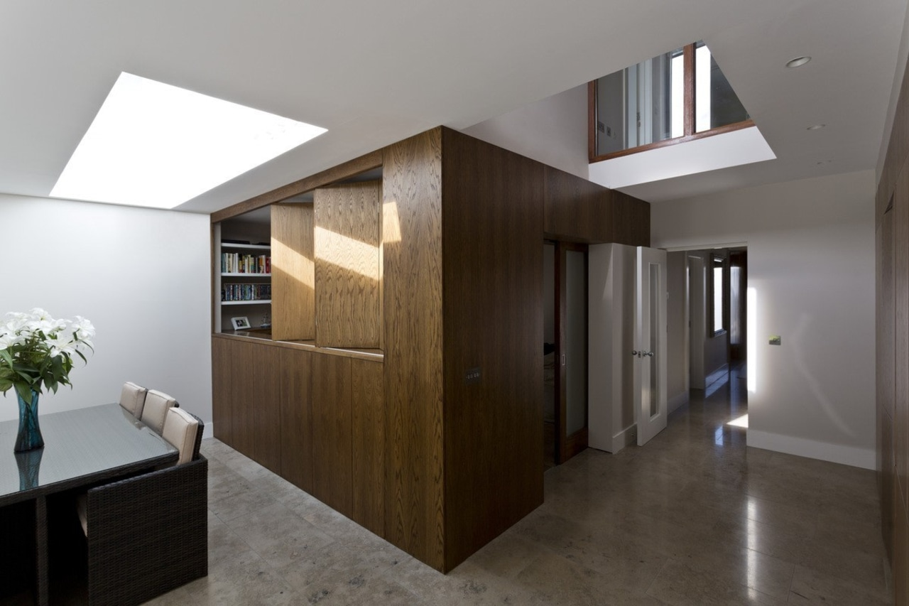You can use the sliding doors to open architecture, daylighting, floor, flooring, house, interior design, lobby, real estate, gray, black