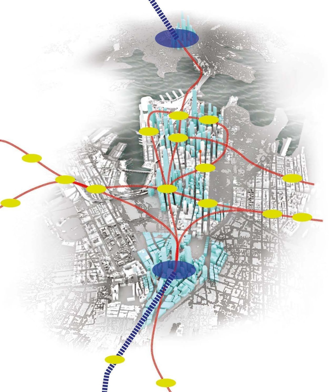 Sydney in 2050 – Travel routes and metro graphic design, line, map, tree, white