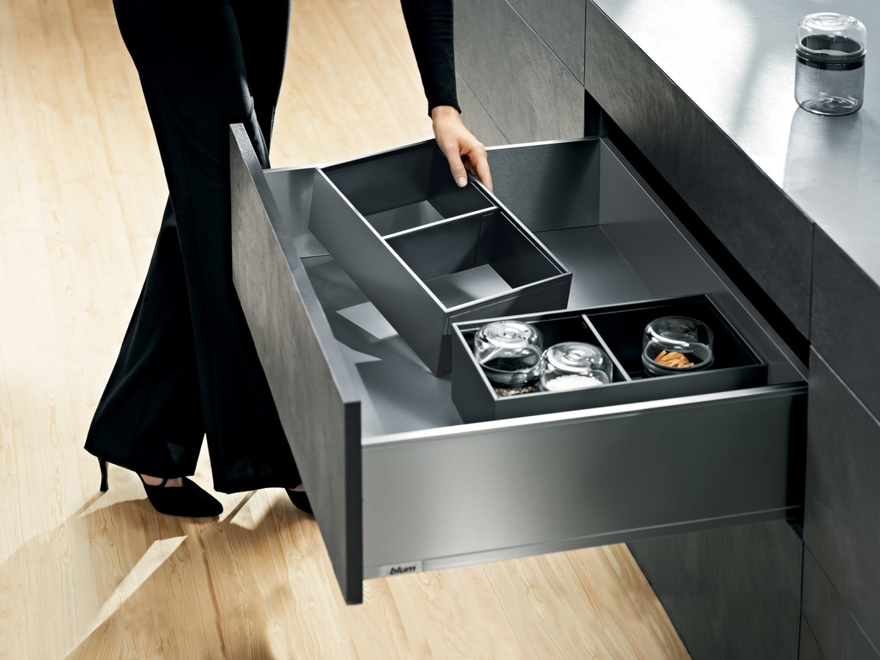 Blum New Zealand desk, drawer, floor, furniture, product, product design, sink, table, black