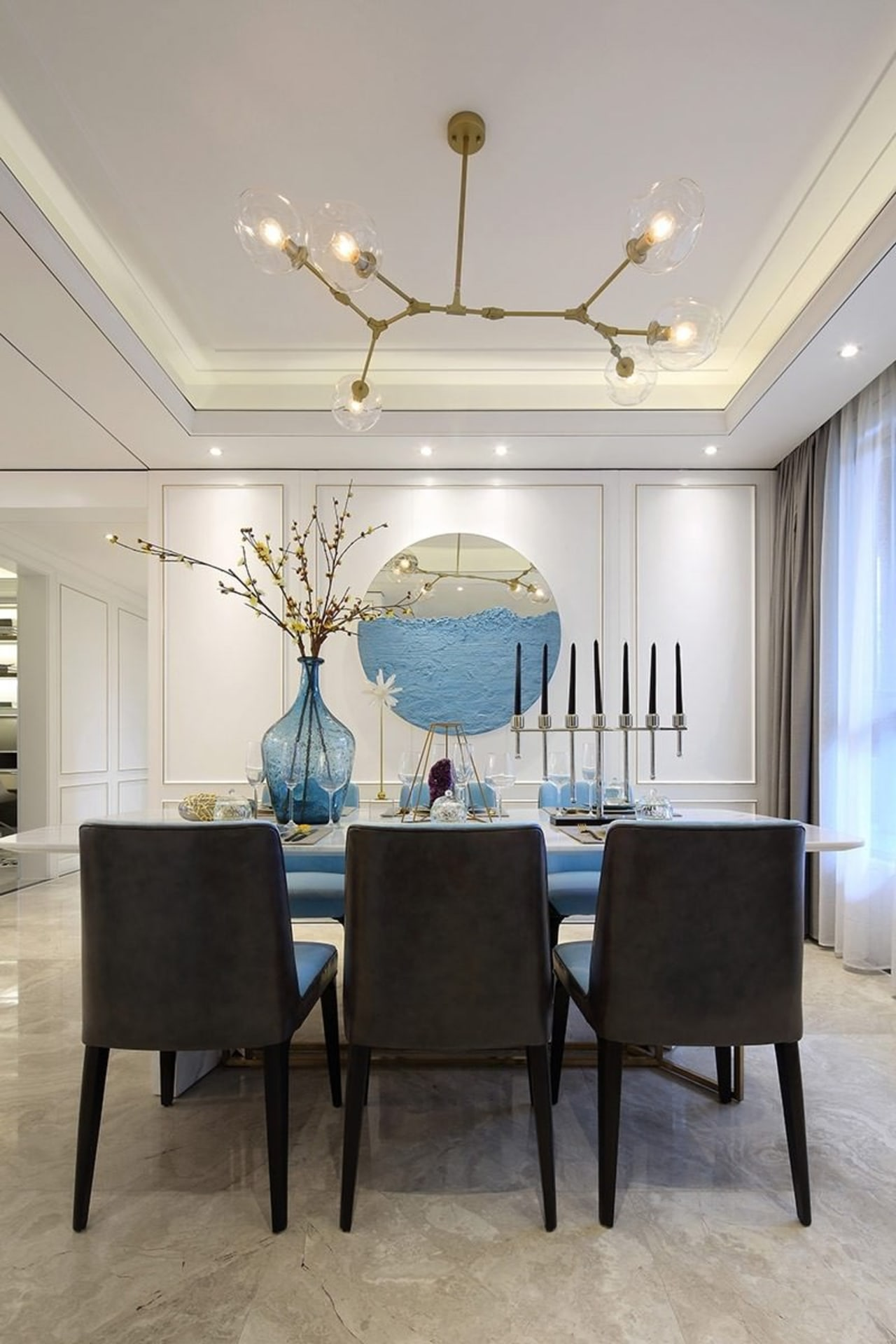 Designer: Li Jianmei Photography by Jianghe Architectural Photography ceiling, dining room, furniture, home, interior design, living room, room, table, wall, gray