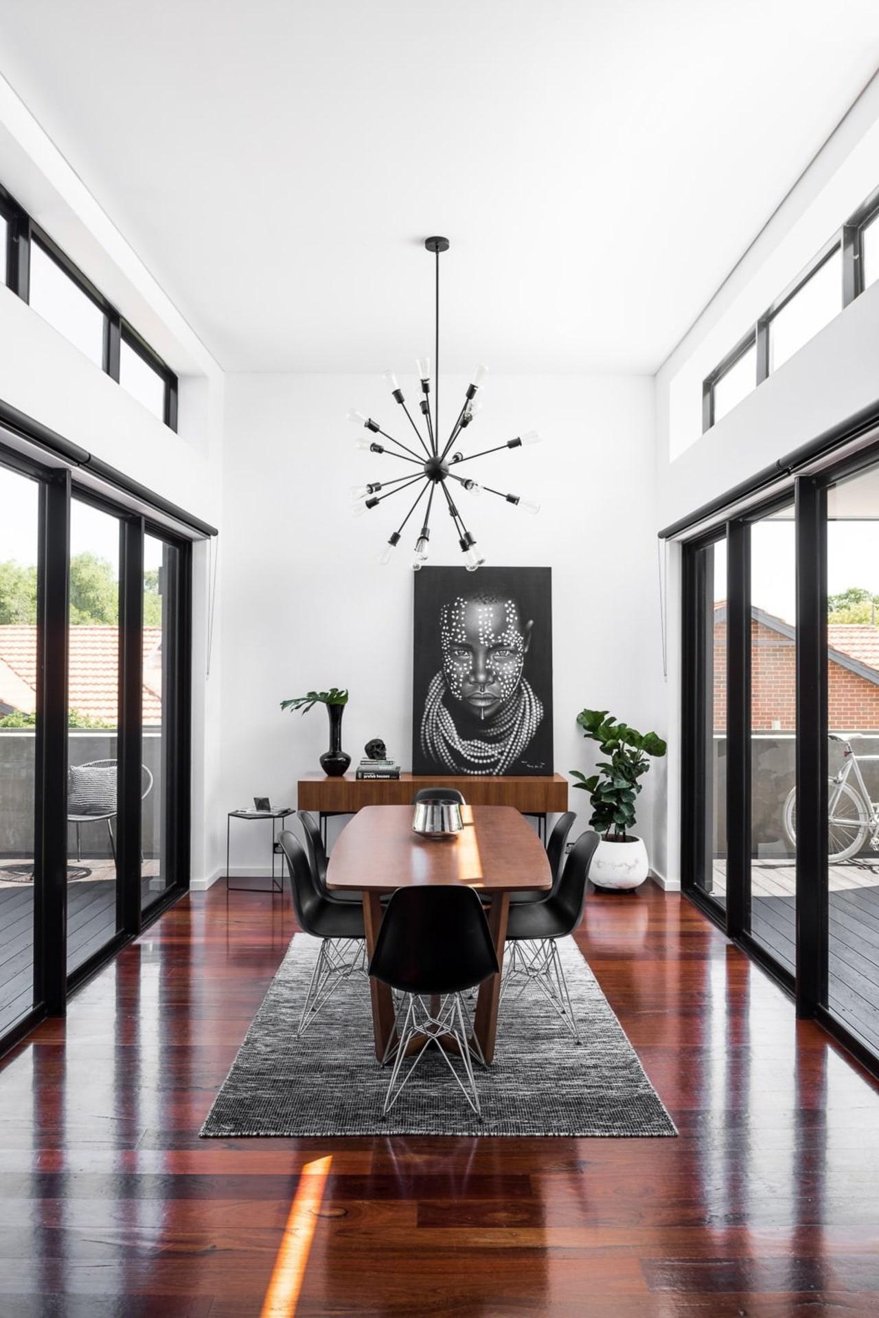 TIDA AU 2017 – Designer renovation winner – ceiling, dining room, floor, flooring, furniture, hardwood, interior design, living room, room, table, wood flooring, white