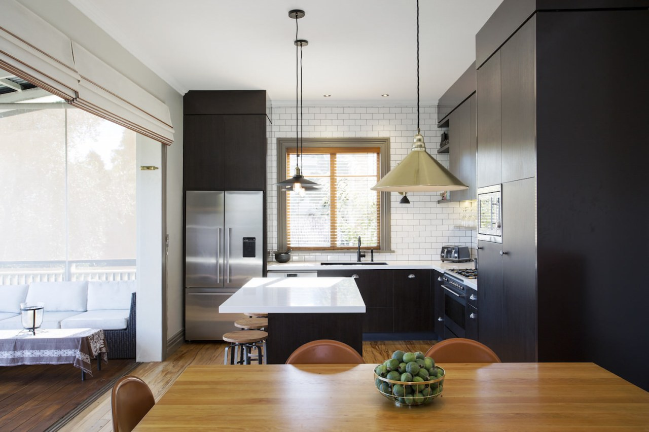 A single window in the kitchen features a architecture, ceiling, countertop, interior design, kitchen, white, black