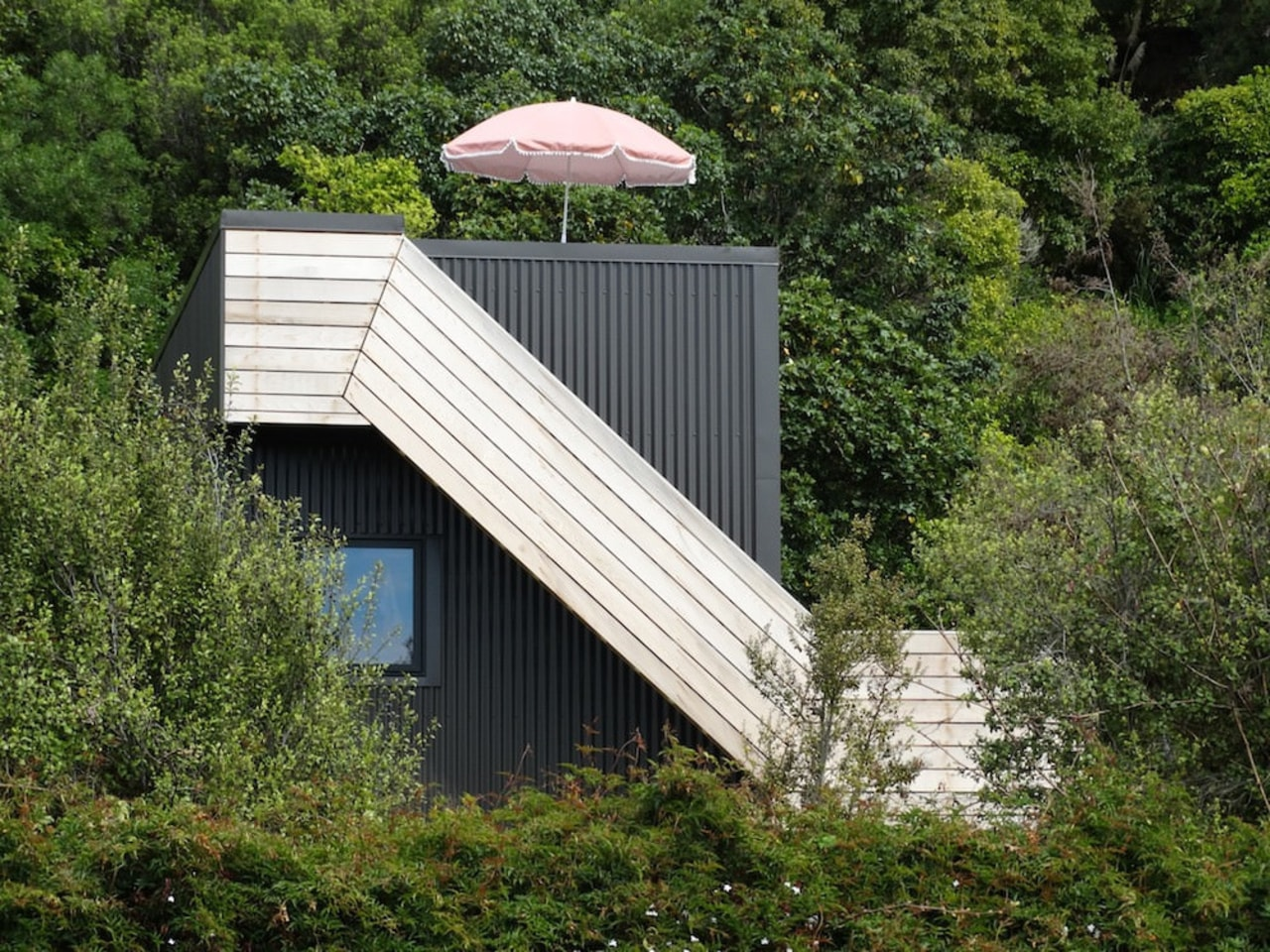 Graham Phipps-Black – Ruby Bay, Nelson house architecture, cottage, house, hut, outdoor structure, roof, shed, tree, wood, brown