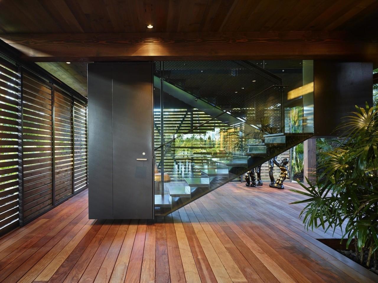 Architect: Olson KundigPhotography by Benjamin Benschneider architecture, condominium, daylighting, estate, home, house, interior design, lobby, real estate, stairs, wood, black, brown