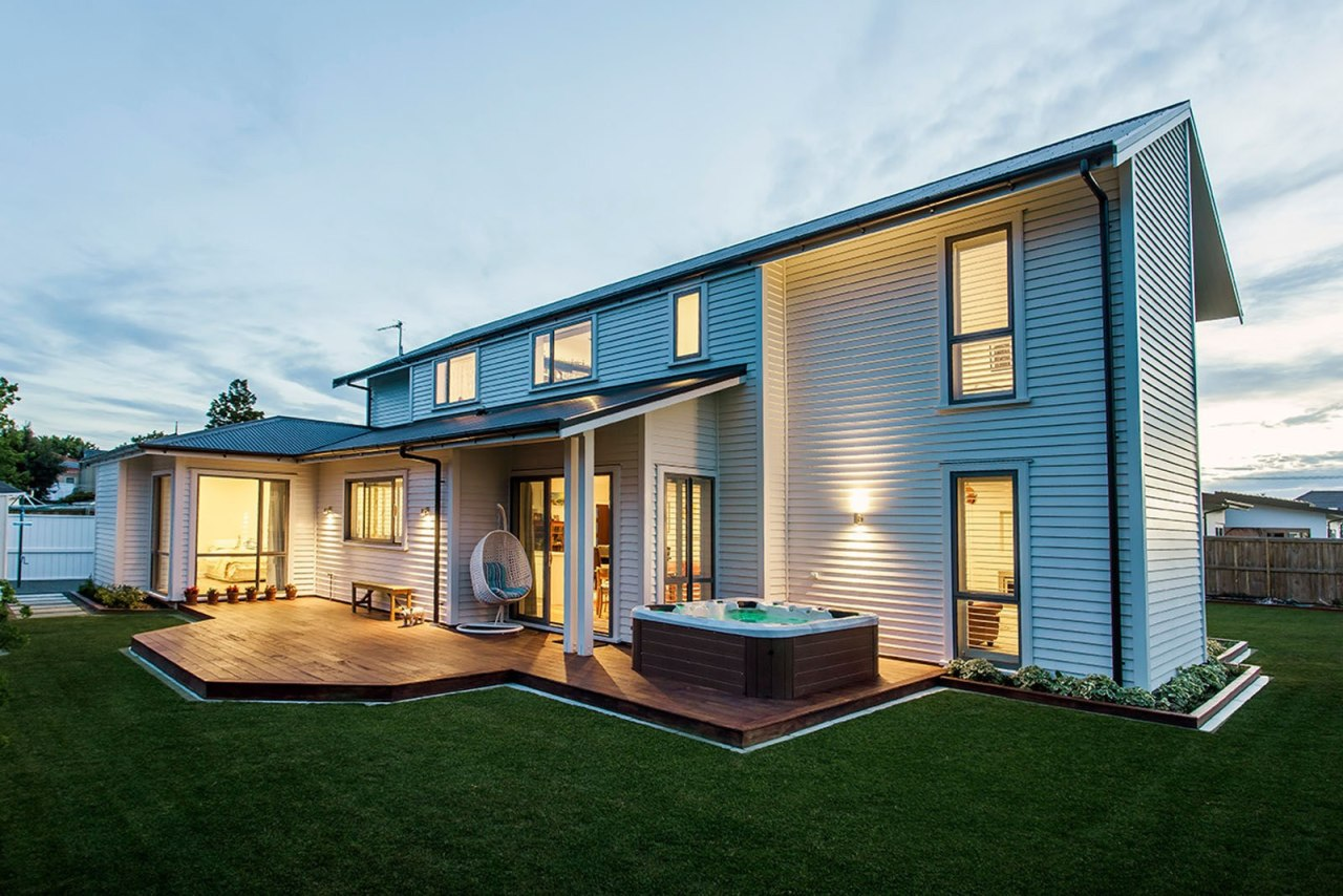 Envira Bevel Back Weatherboards - Two Storey Home cottage, elevation, facade, home, house, property, real estate, residential area, siding, white