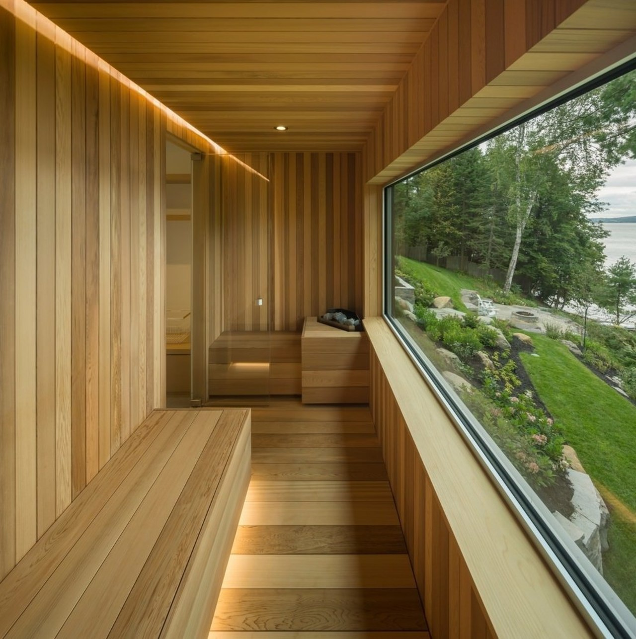 A sauna with a window and recessed lighting architecture, daylighting, deck, home, house, interior design, real estate, wood, brown