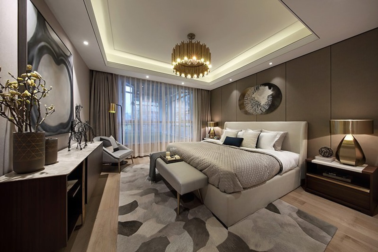 Designer: Li Jianmei Photography by Jianghe Architectural Photography architecture, bedroom, ceiling, home, interior design, real estate, room, suite, wall, gray, black