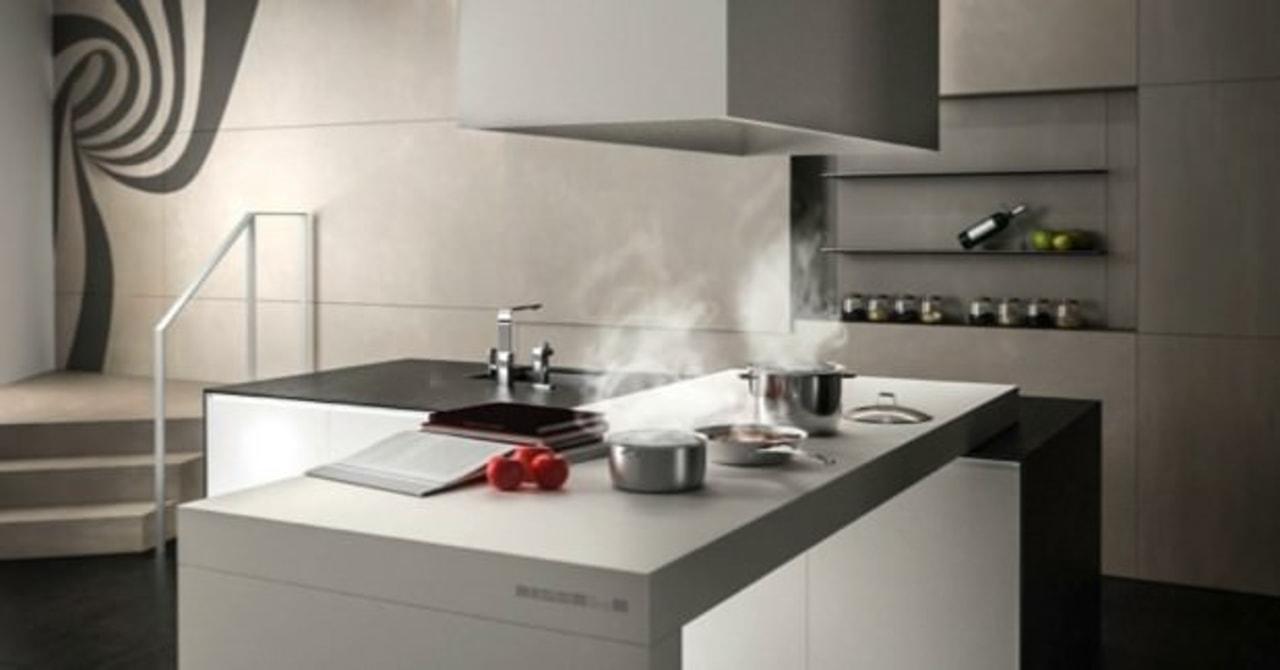 TPB Tech countertop, home appliance, interior design, kitchen, kitchen appliance, kitchen stove, product design, sink, tap, gray, black