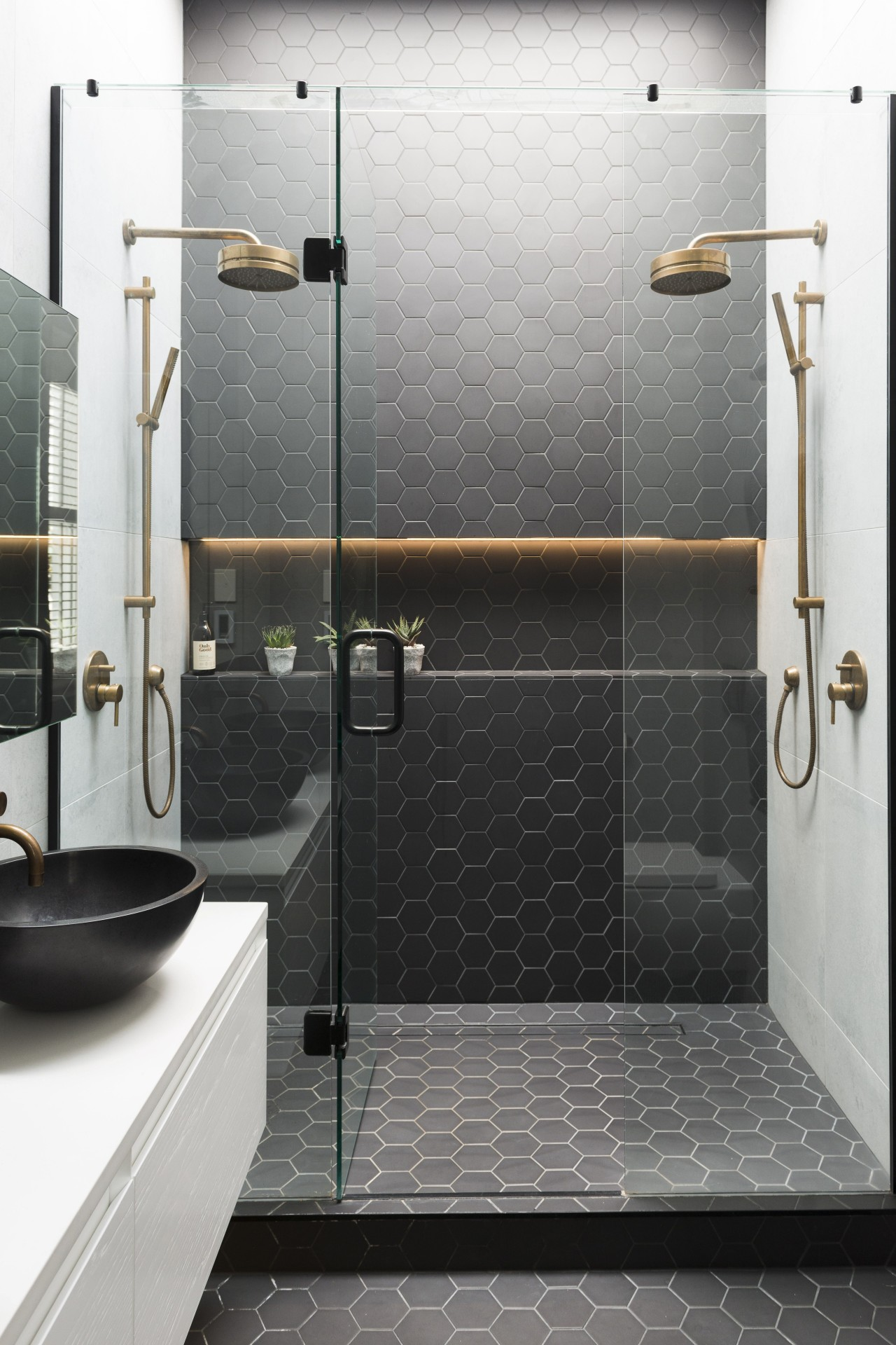 Caro Design bathroom, floor, flooring, plumbing fixture, shower, tap, tile, wall, gray, white, black